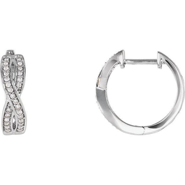 14K 1/5 CTW Diamond Infinity-Inspired Hoop Earrings