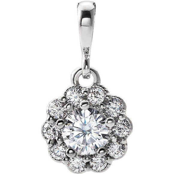 14K White Forever One™ Moissanite & Diamond Pendant
