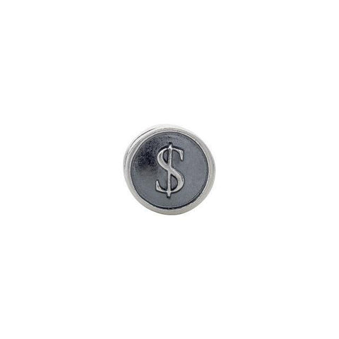 Sterling Silver 10.6mm Dollar Sign Cylinder Bead