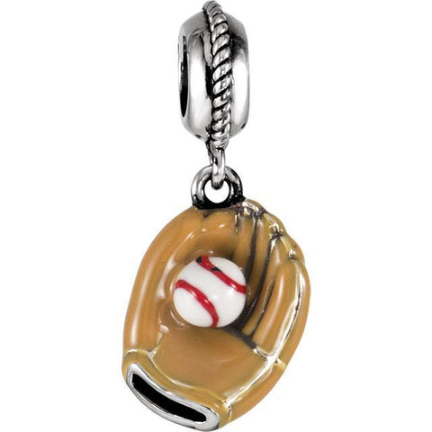 Sterling Silver 12.5x10mm Kera Baseball Glove Charm