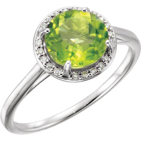 14K Peridot and .05CTW Diamond Ring