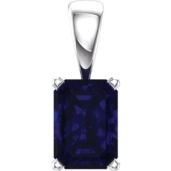 14K White Emerald Cut Pendant
