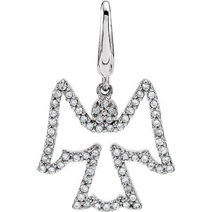 14K White Diamond Angel Charm