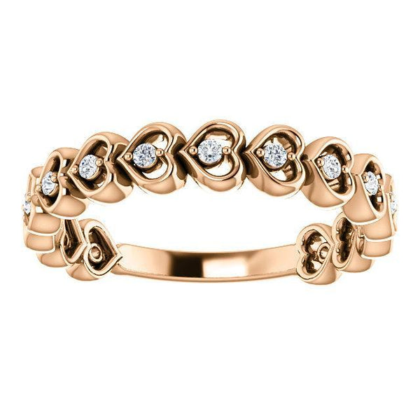 14K 1/8 CTW Diamond Accented Heart Anniversary Band