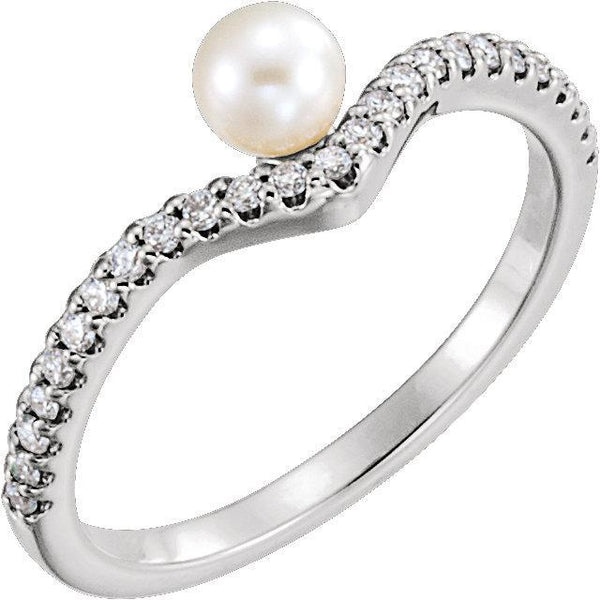 Freshwater Cultured Pearl & 1/5 CTW Diamond Asymmetrical Ring