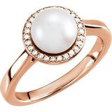 14K Freshwater Cultured Pearl & .07 CTW Diamond Halo-Style Ring