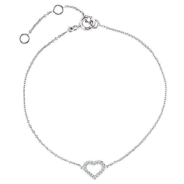 14K White .06 CTW Diamond Heart Bracelet
