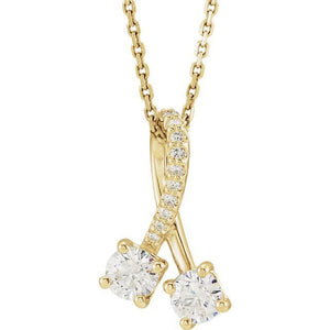 14K Yellow 4mm Round Forever One™ Moissanite & .01 CTW Diamond Necklace
