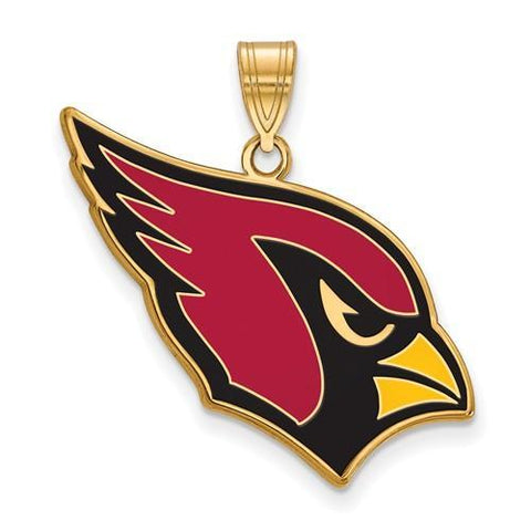 Gold Plated Sterling Silver Arizona Cardinals Large Enamel Pendant