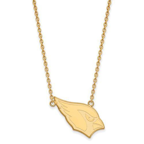 Gold Plated Sterling Silver Arizona Cardinals Large Pendant With Necklace