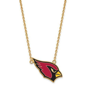 Gold Plated Sterling Silver Arizona Cardinals Large Enamel Pendant With Necklace