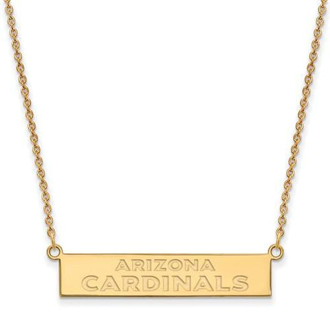 Gold Plated Sterling Silver Arizona Cardinals Small Bar Necklace