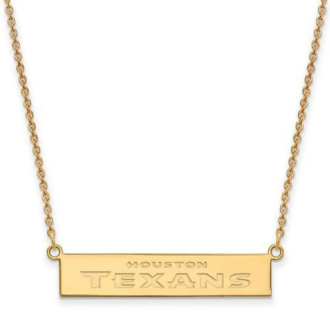 Gold Plated Houston Texans Small Bar Necklace