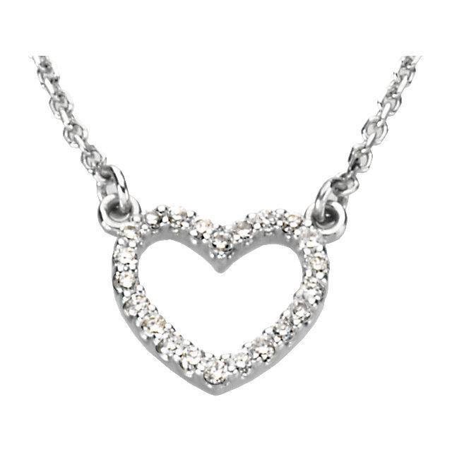 "14K White 1/10 CTW Diamond Petite Heart 16"" Necklace"