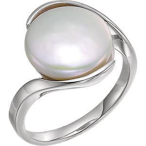 Sterling Silver Solitaire Ring for Coin Pearl