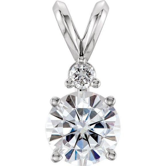 14K White Round Forever One™ Moissanite & Diamond Pendant