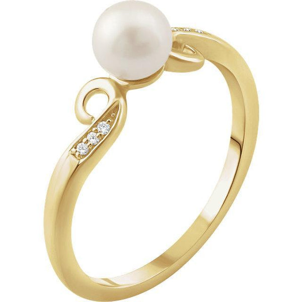 14K Freshwater Cultured Pearl & .02 CTW Diamond Ring