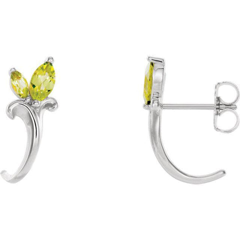 Peridot Floral-Inspired J-Hoop Earrings
