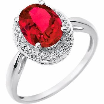 14K White Created Ruby & .02 CTW Diamond Ring