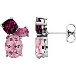14K Baby Pink Topaz,Rhodolite Garnet & Pink Tourmaline Earrings
