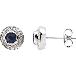 14K White Blue Sapphire & 1/10 CTW Diamond Earrings