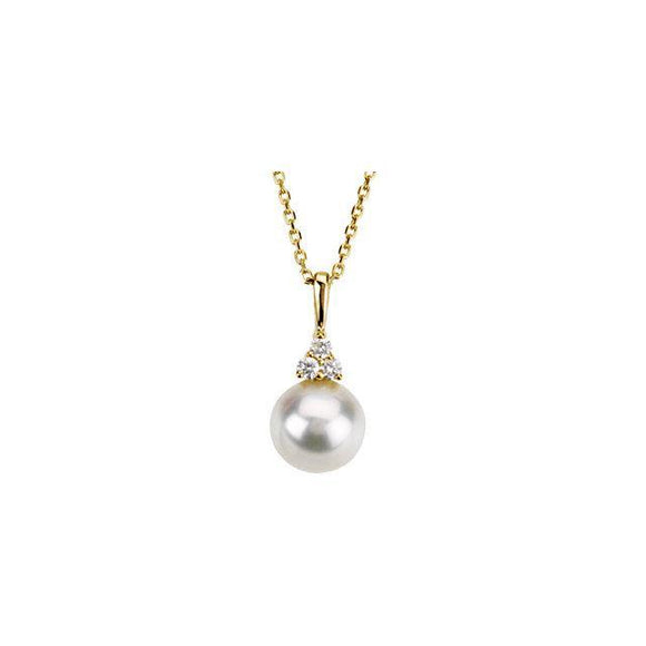 14K  Freshwater Cultured Pearl & .06 CTW Diamond Necklace
