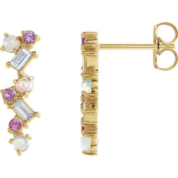 Ethiopian Opal, Pink Sapphire & 1/10 CTW Diamond Geometric Drop Earrings