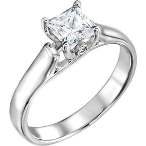 10K White 1/4 CTW Diamond Engagement Ring