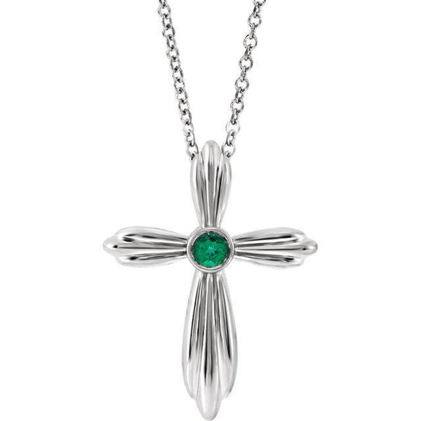 Chatham® Created Emerald Cross Necklace
