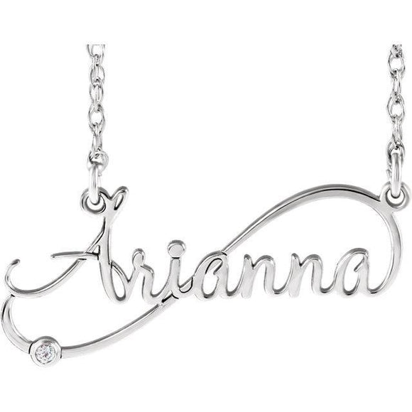 Diamond Infinity-Inspired Script Nameplate Necklace