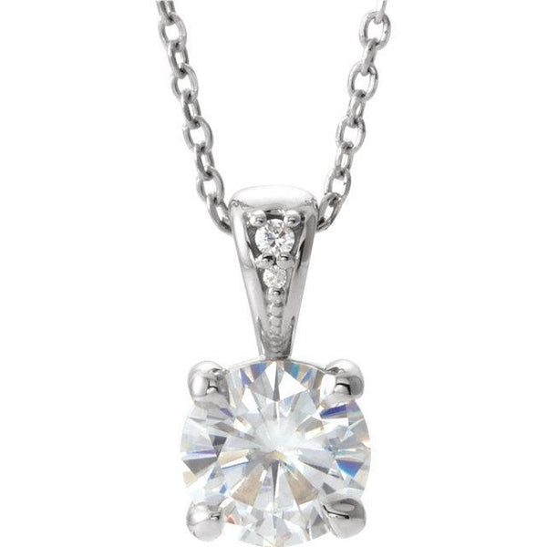 "14K 4mm Round Forever One™ Moissanite & .01 CTW Diamond 16-18"" Necklace"