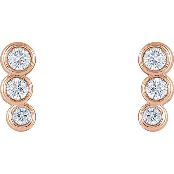 14K Gold.07 CTW Diamond Petite Ear Climbers