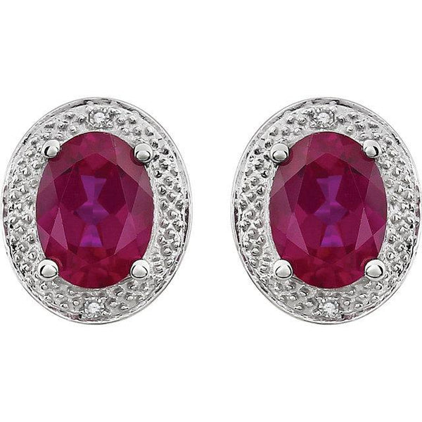 14K White Created Ruby & .02 CTW Diamond Earrings