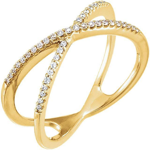 14K 1/6 CTW Diamond Criss Cross Ring