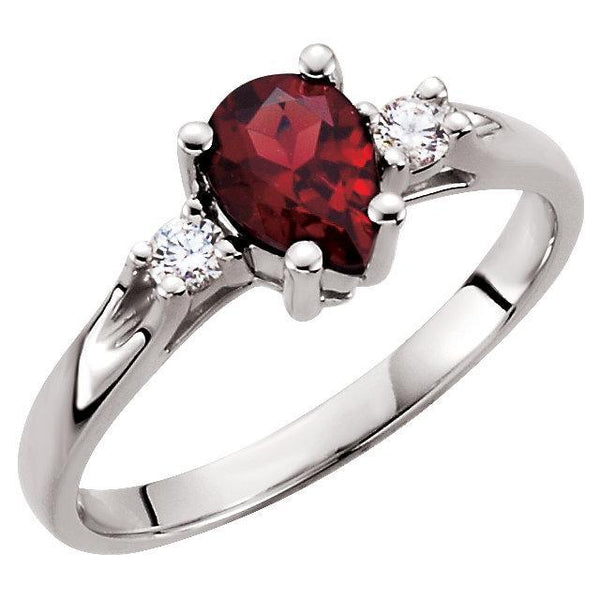 14K White Genuine Mozambique Garnet & Diamond Ring