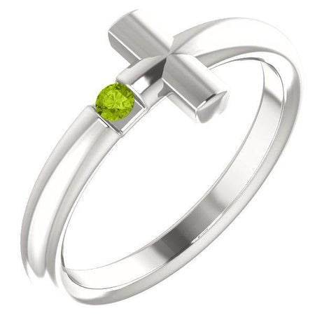 Peridot Sideways Cross Ring