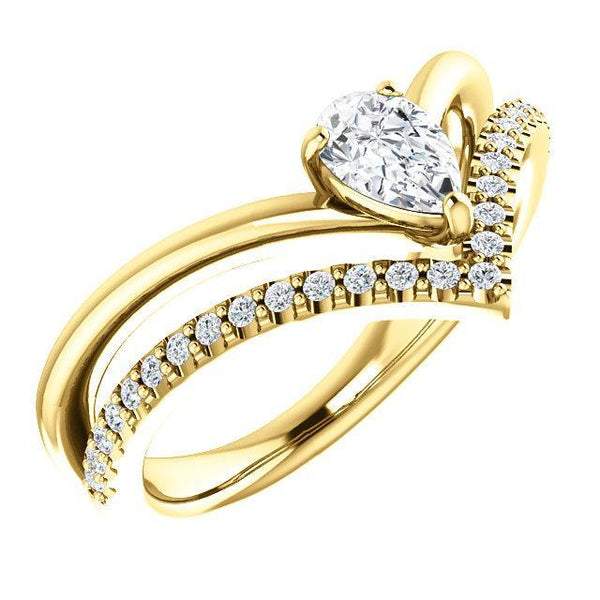 14K 6x4mm Pear Forever One™ Moissanite & 1/6 CTW Diamond Ring
