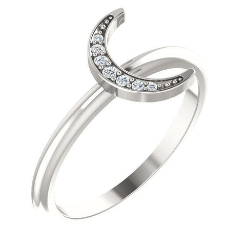 Diamond Stackable Crescent Ring