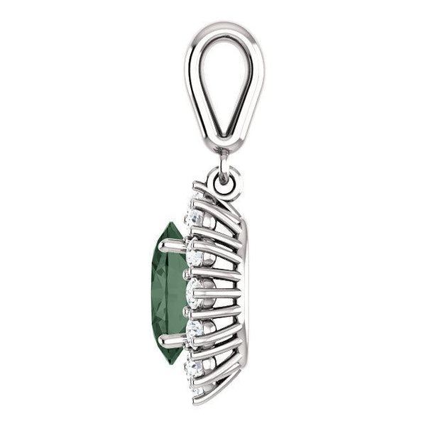 14K Chatham® Created Gemstone & 1/3 CTW Diamond Pendant
