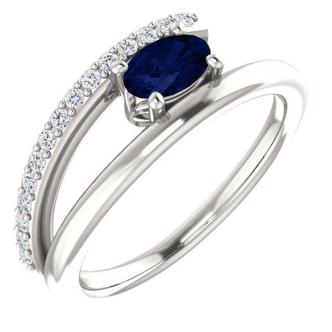 Chatham® Created & 1/8 CTW Diamond Ring