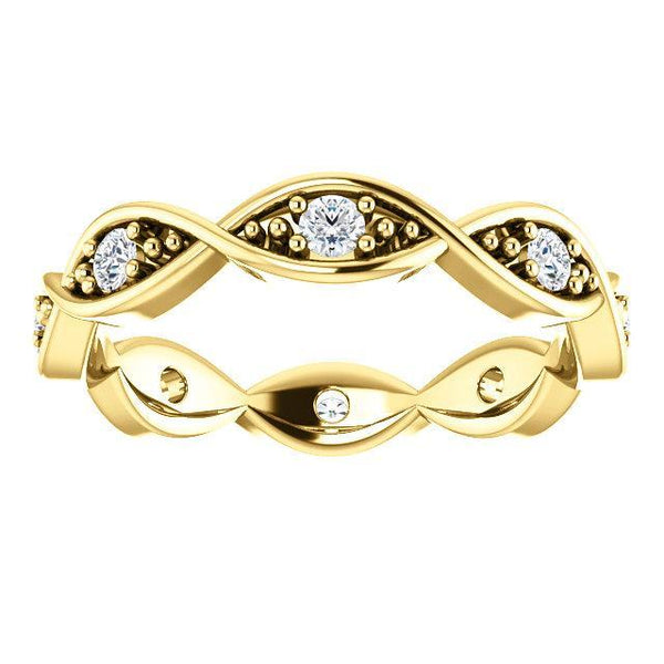 14K Diamond Infinity-Inspired Eternity Band