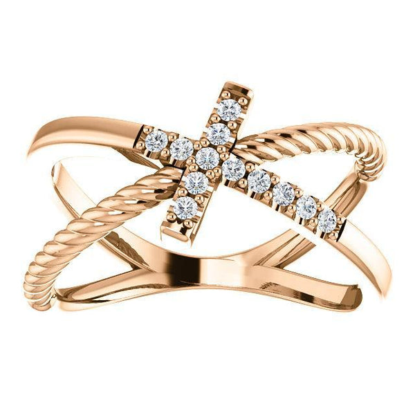 14K 1/10 CTW Diamond Cross Rope Ring