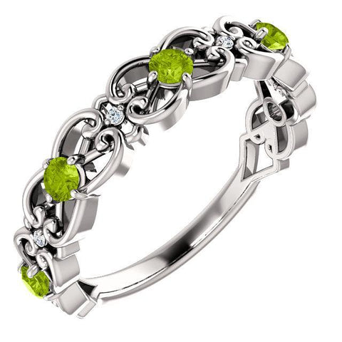 Peridot & .02 CTW Diamond Vintage-Inspired Scroll Ring