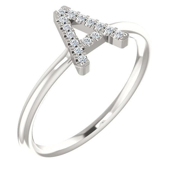 Diamond Stackable Initial Ring