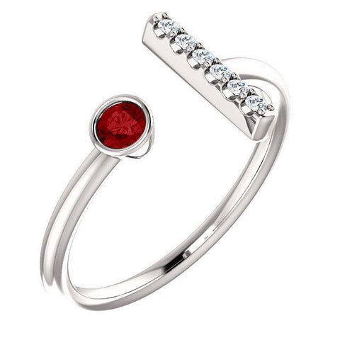 Chatham® Created Gemstone & .05 CTW Diamond Bar Ring
