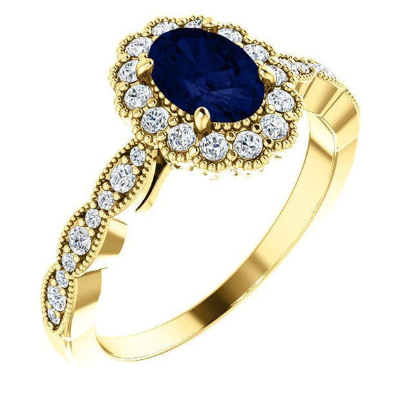 14K White Chatham® Created Blue Sapphire & 3/8 CTW Diamond Ring