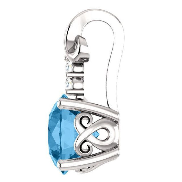 14K White Blue Topaz and .03 CTW Diamond Pendant