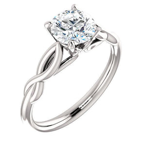 14K White 6.5mm Round Forever One™ Moissanite Engagement Ring