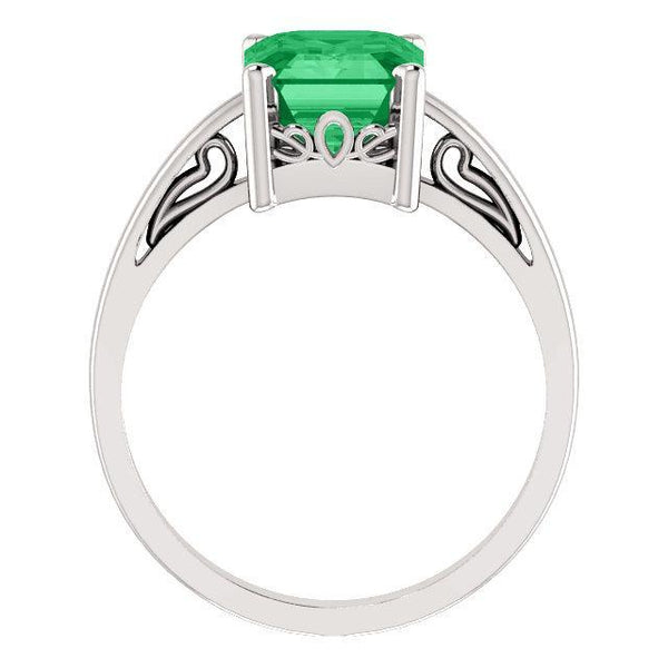 14K 9x7mm Emerald Scroll Setting® Ring
