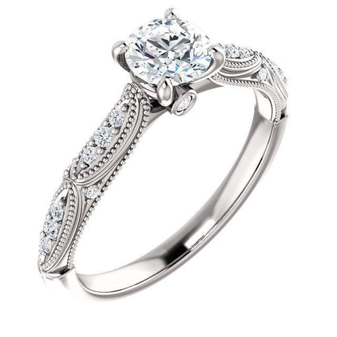 Round Forever One™ Moissanite & Diamond Engagement Ring